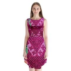 Pink Batik Cloth Fabric Sleeveless Chiffon Dress
