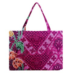 Pink Batik Cloth Fabric Medium Zipper Tote Bag