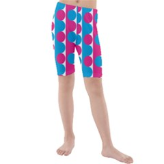 Pink And Bluedots Pattern Kids  Mid Length Swim Shorts