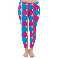 Pink And Bluedots Pattern Winter Leggings
