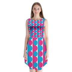 Pink And Bluedots Pattern Sleeveless Chiffon Dress