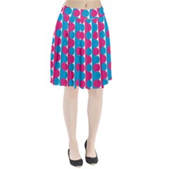Pink And Bluedots Pattern Pleated Skirt