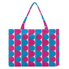 Pink And Bluedots Pattern Medium Zipper Tote Bag