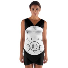 Pig Logo Wrap Front Bodycon Dress