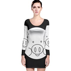Pig Logo Long Sleeve Velvet Bodycon Dress