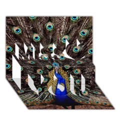 Peacock Miss You 3D Greeting Card (7x5)