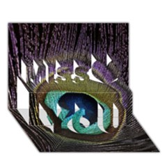 Peacock Feather Miss You 3D Greeting Card (7x5)