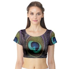 Peacock Feather Short Sleeve Crop Top (Tight Fit)