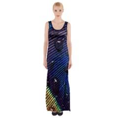 Peacock Feather Retina Mac Maxi Thigh Split Dress