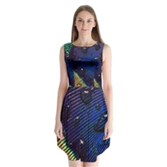 Peacock Feather Retina Mac Sleeveless Chiffon Dress
