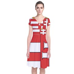 Medieval Coat Of Arms Of Hungary  Short Sleeve Front Wrap Dress