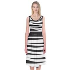 Zebra Print Midi Sleeveless Dress