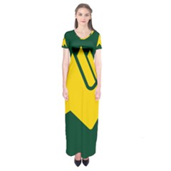 Flag Of Biei, Hokkaido, Japan Short Sleeve Maxi Dress