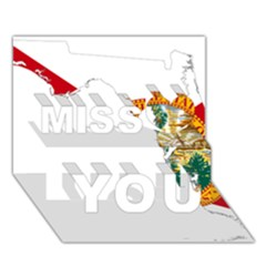 Flag Map of Florida Miss You 3D Greeting Card (7x5)
