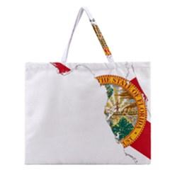 Flag Map Of Florida Zipper Large Tote Bag
