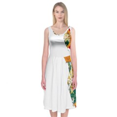 Flag Map of Florida Midi Sleeveless Dress