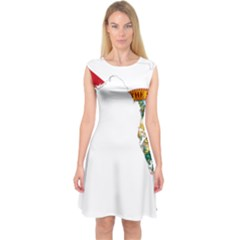 Flag Map Of Florida Capsleeve Midi Dress