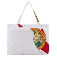 Flag Map Of Florida Medium Zipper Tote Bag