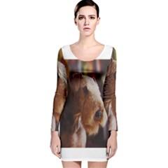 Airedale Terrier Long Sleeve Velvet Bodycon Dress