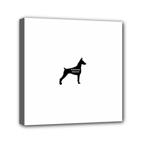 Doberman Pinscher Name Silhouette Black Mini Canvas 6  x 6