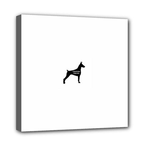 Doberman Pinscher Name Silhouette Black Mini Canvas 8  x 8