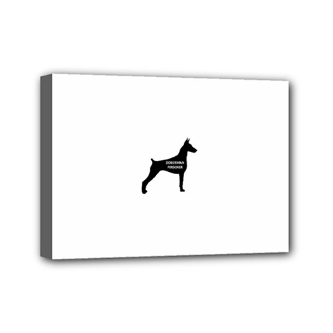 Doberman Pinscher Name Silhouette Black Mini Canvas 7  x 5