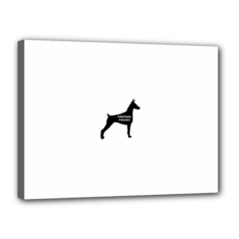 Doberman Pinscher Name Silhouette Black Canvas 16  x 12