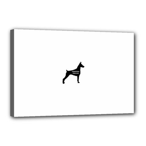 Doberman Pinscher Name Silhouette Black Canvas 18  x 12