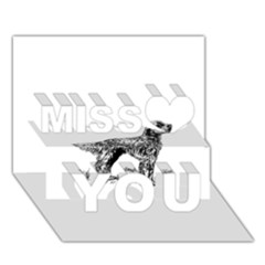 English Setter Drawing Miss You 3D Greeting Card (7x5)