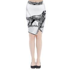 English Setter Drawing Midi Wrap Pencil Skirt
