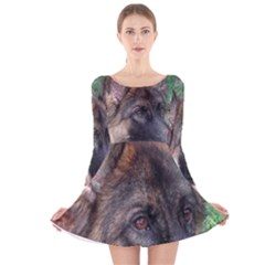 German Shepherd Long Sleeve Velvet Skater Dress
