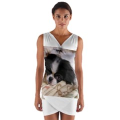 Japanese Chin Puppy Wrap Front Bodycon Dress