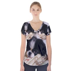 Japanese Chin Puppy Short Sleeve Front Detail Top