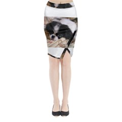 Japanese Chin Puppy Midi Wrap Pencil Skirt