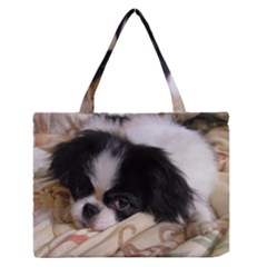 Japanese Chin Puppy Medium Zipper Tote Bag