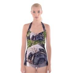 Pug Fawn Boyleg Halter Swimsuit