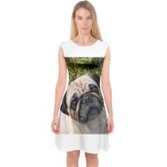 Pug Fawn Capsleeve Midi Dress