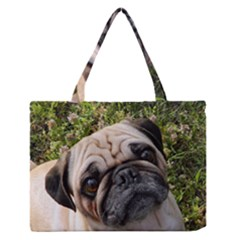 Pug Fawn Medium Zipper Tote Bag