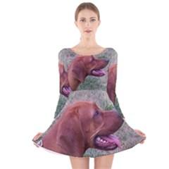 Redbone Coonhound Long Sleeve Velvet Skater Dress