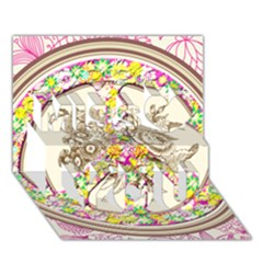 Peace Logo Floral Pattern Miss You 3D Greeting Card (7x5)