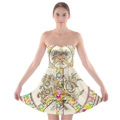 Peace Logo Floral Pattern Strapless Bra Top Dress