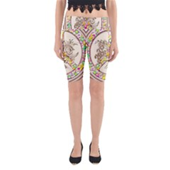Peace Logo Floral Pattern Yoga Cropped Leggings