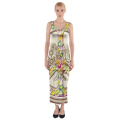 Peace Logo Floral Pattern Fitted Maxi Dress