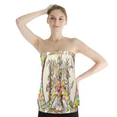 Peace Logo Floral Pattern Strapless Top