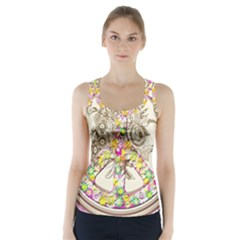Peace Logo Floral Pattern Racer Back Sports Top
