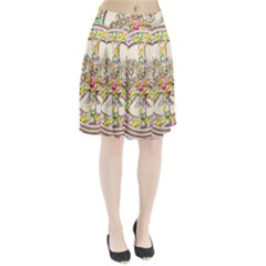 Peace Logo Floral Pattern Pleated Skirt