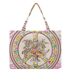 Peace Logo Floral Pattern Medium Tote Bag
