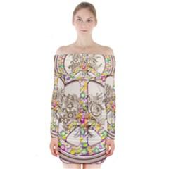 Peace Logo Floral Pattern Long Sleeve Off Shoulder Dress