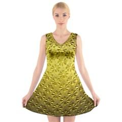 Patterns Gold Textures V-Neck Sleeveless Skater Dress