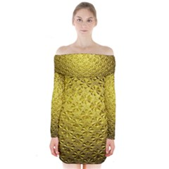 Patterns Gold Textures Long Sleeve Off Shoulder Dress